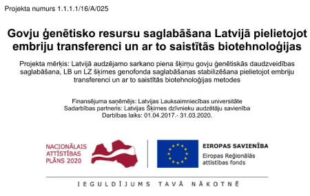 BioReproLV - Preservation of genetic diversity of cow breeds to be cultivated in Latvia